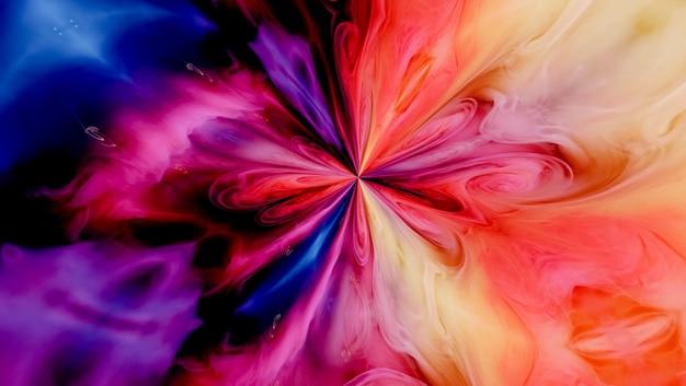 Encre de couleur de fond abstrait d'art fluide dans un mélange d'eau
