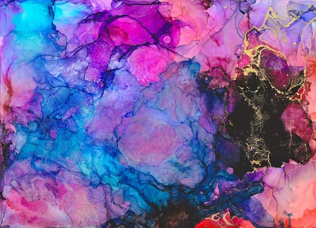 Encre, peinture, résumé. galaxie peinte colorée abstraite. peinture abstraite moderne à l'encre d'alcool, art contemporain moderne. illustration à la main.