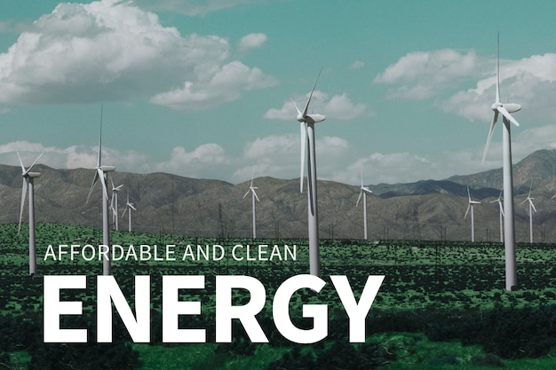 Énergie éolienne avec une énergie abordable et propre pour la bannière de l'environnement