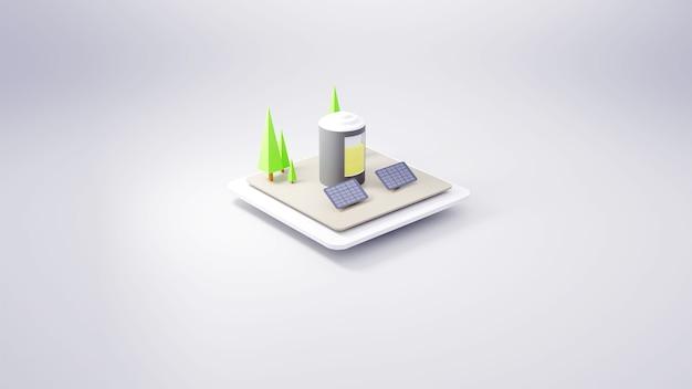 L'énergie renouvelable dans la batterie de rendu 3d et la cellule solaire avec vue isométrique