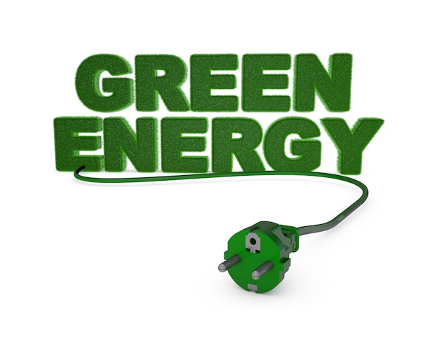 Energie verte avec herbe et prise électrique