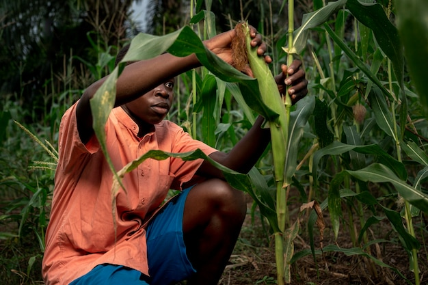 Enfant de coup moyen travaillant dans le champ de maïs