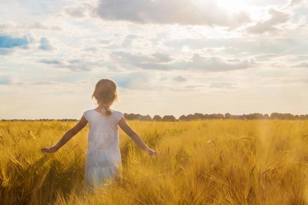 Enfant dans un champ de blé. mise au point sélective. la nature