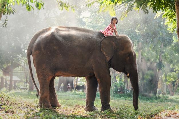 Enfant fille à cheval sur bébé éléphant