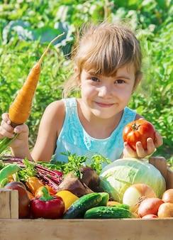 Enfant et légumes à la ferme. mise au point sélective.