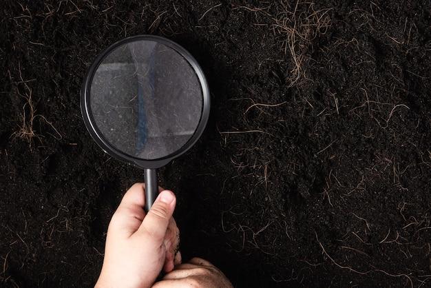 Enfant main tenir la loupe pour vérifier la terre noire au jardin