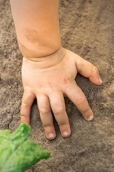 Enfant main toucher fond de sol sec