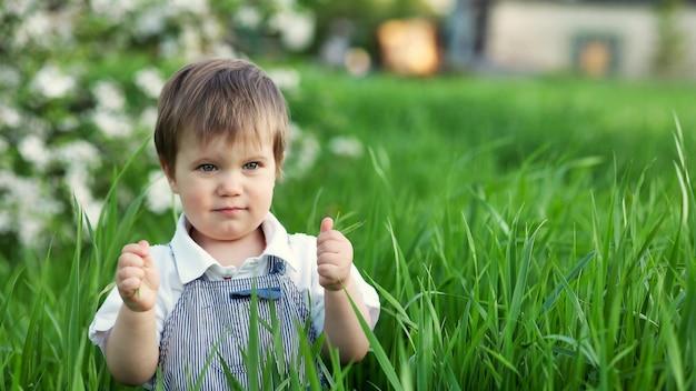 Un enfant mignon dans une salopette bleue et des yeux bleus joue drôlement dans la grande herbe verte dans un parc fleuri vert