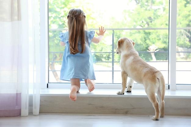 Enfant mignon avec labrador retriever sur rebord de fenêtre à la maison