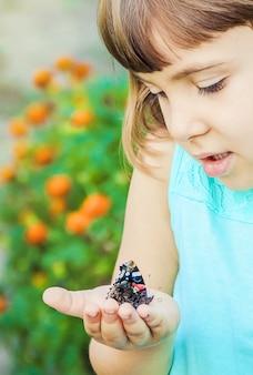Enfant avec un papillon. photo. la nature.
