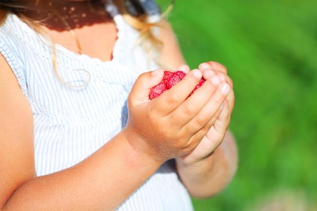 Enfant tenant une framboise savoureuse