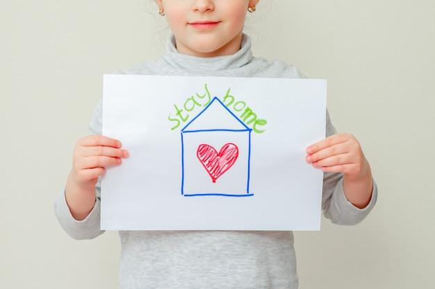 Enfant, tenue, image, maison
