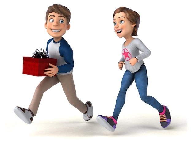 Enfants adolescents drôles de dessin animé 3d