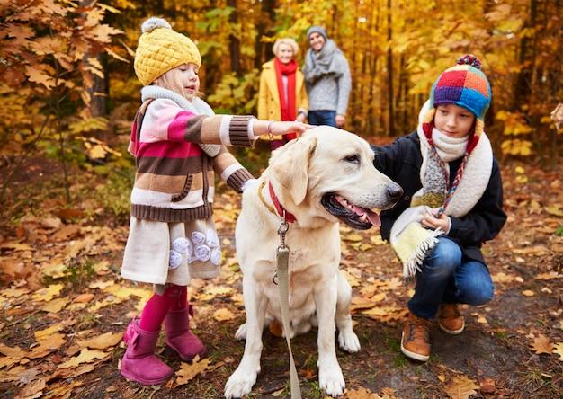 Enfants caressant leur adorable animal de compagnie