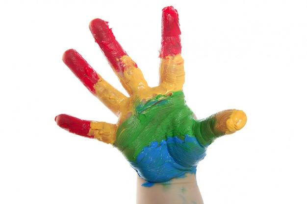 Enfants colorés peints à la main sur blanc