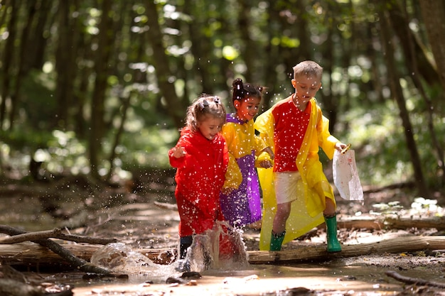 Enfants curieux participant à une chasse au trésor dans la forêt