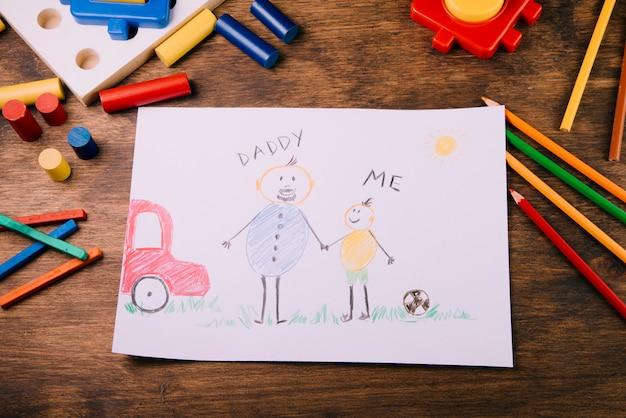Enfants dessinant pour la fête des pères