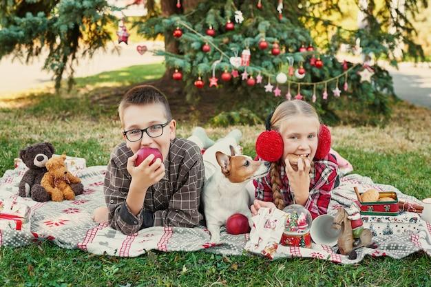 Enfants garçon et fille avec un chien jack russell terrier près d'un arbre de noël avec des cadeaux,