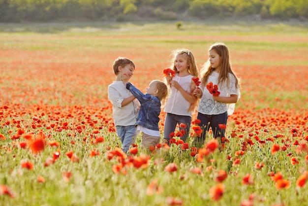Enfants heureux dans le champ
