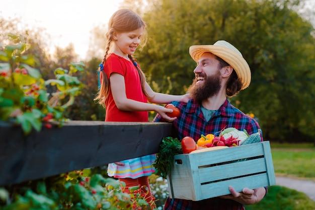 Enfants petite fille tenant père un panier de légumes biologiques frais avec le jardin potager.