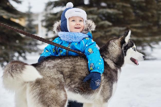 Les enfants sortent et jouent avec un chien husky en hiver.