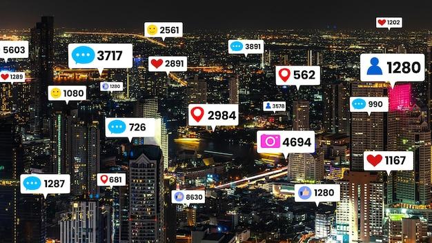 L'engagement des médias sociaux survole la ville