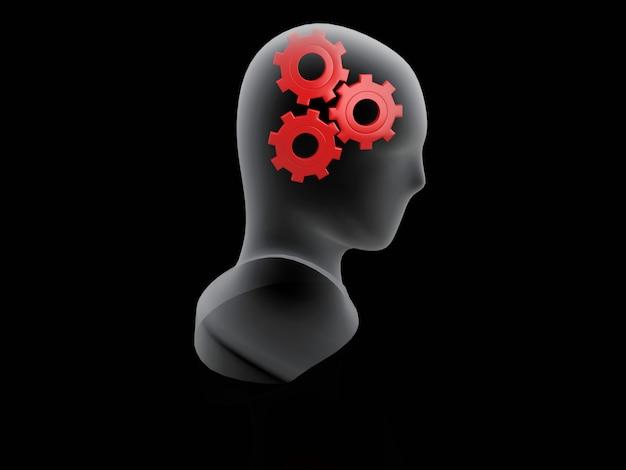 Engrenage rouge humain. concept de cerveau sur fond noir