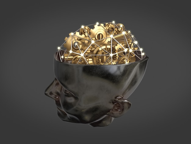 Engrenages dorés et pièce de machine en forme de cerveau sur la tête humaine, concept de travail d'intelligence, cerveau abstrait rendu 3d