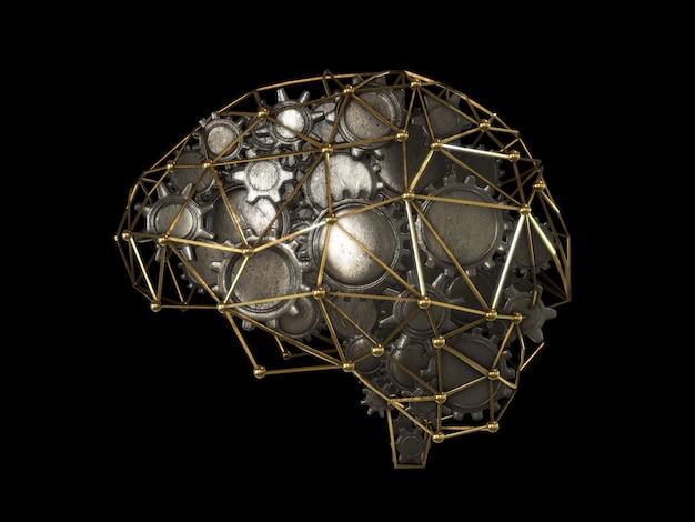 Engrenages en forme de concept de cerveau, cerveau abstrait rendu 3d