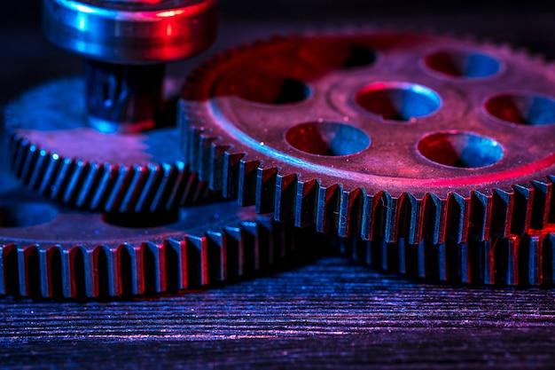 Engrenages partie de la machine. couleur néon.