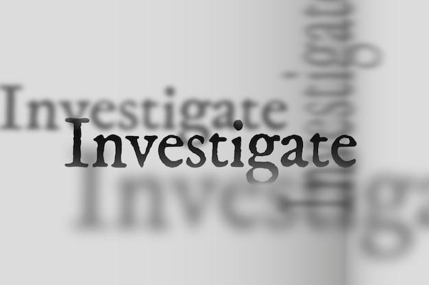 Enquêter sur le mot dans l'illustration de typographie de police d'ombre fanée