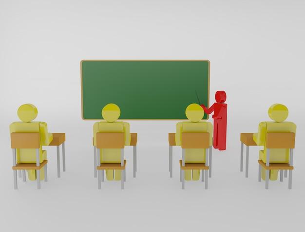 Enseignant avec un pointeur au tableau noir. image 3d isolée