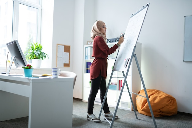 Enseignant près du tableau blanc. enseignant musulman portant le hijab debout près du tableau blanc et écrivant des notes