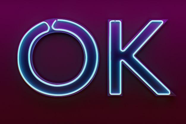 Enseigne au néon illustration 3d avec les mots ok.