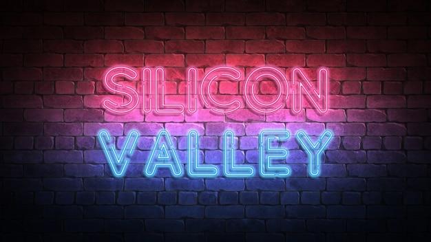 Enseigne au néon de la silicon valley sur un mur