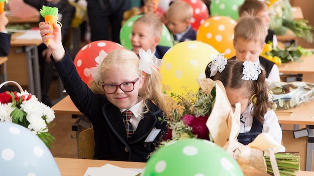 Enseignement scolaire russe. premier jour à l'école