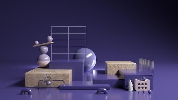 Ensemble d'affichage abstrait violet violet et cosmétiques, illustration 3d