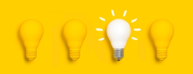 Ensemble d'ampoules avec un éclairé, concept d'idée
