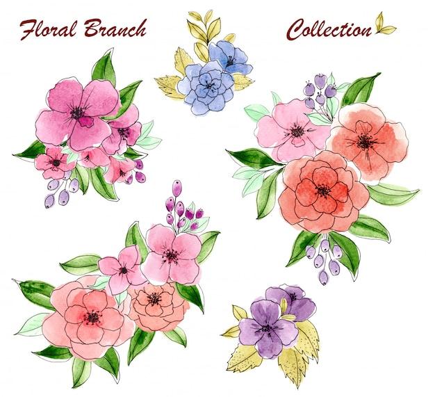 Ensemble d'aquarelle de bouquet floral