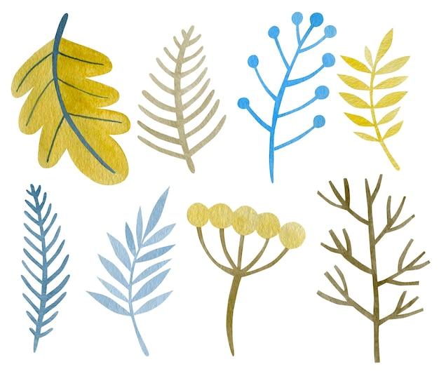 Ensemble aquarelle de branches d'hiver nouvel an joyeuses fêtes
