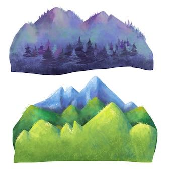 Ensemble aquarelle de différents types de montagnes