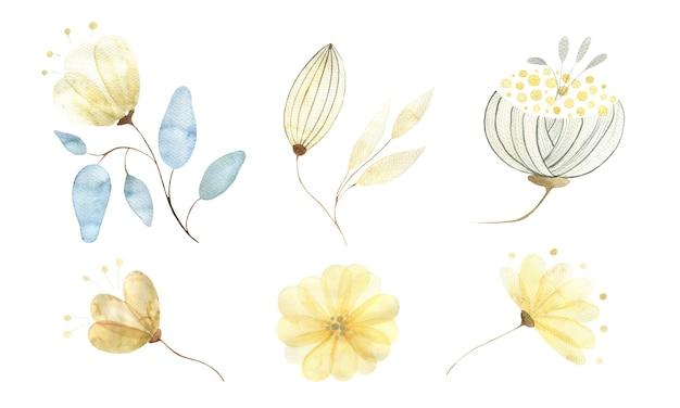 Un ensemble aquarelle de divers éléments isolés de fleurs et de bourgeons d'or abstrait