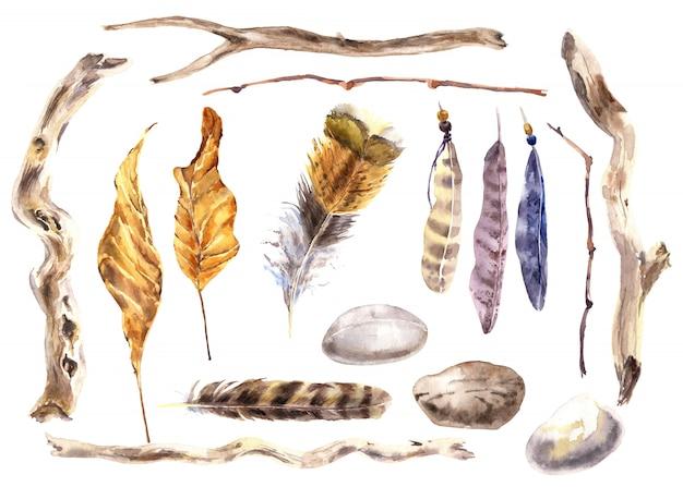 Ensemble aquarelle d'histoires d'automne. branche sèche, feuille, fleur, plume, pierre de rivière