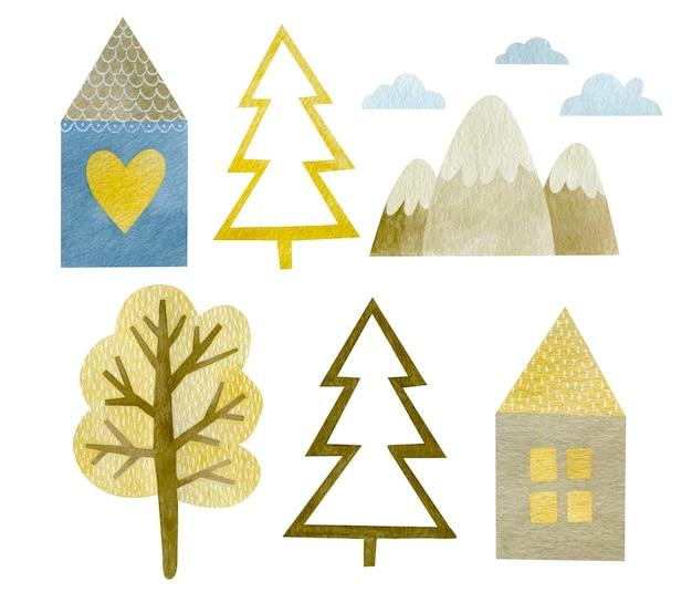 Ensemble aquarelle de petite maison sapin montagnes arbre nouvel an joyeuses fêtes