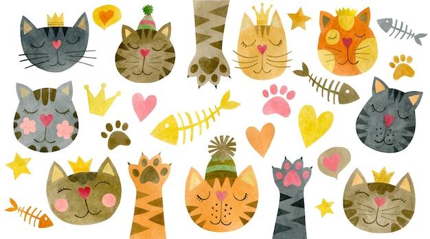 Ensemble aquarelle de visages de chats poissons squelettes coeurs couronne pattes d'étoiles de chat