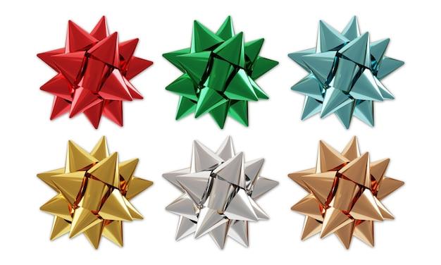 Ensemble d'arcs de cadeaux de vacances, objets de célébration festive. nouvel an, noël, éléments décoratifs pour anniversaire. décor de noël pour les cadeaux.