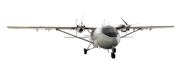 Ensemble d'avion ancien en acier isolé sur fond blanc