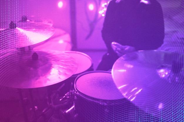 Ensemble de batterie de technologie d'instrument de musique et média remixé par onde rythmique