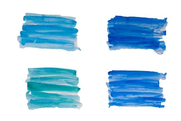 Ensemble bleu abstrait de main aquarelle dessiner des coups de pinceau ilustration isolée