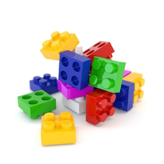 Ensemble de blocs lego en plastique multicolores isolés sur fond blanc. illustration 3d